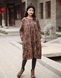 Cotton dress Casual loose dress O-neck Printed dress by Luckywu
