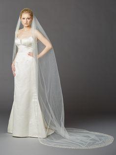 Breathtaking 1 Layer Cathedral Wedding Veil with Dramatic Crystal, Pearl and Beaded Edging $397.95 www.nuptialsboutique.com #wedding #weddings #bride #veils #weddingveils #pearl #crystal