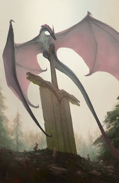 Remnants of an Age by andrewmar on deviantART - slender dragon; large wings; perched
