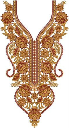 Latest Neck Designs for Kurtis / Dress / Suit / Men's Neck Border Embroidery Designs, Kurti Embroidery Design, Gold Embroidery, Machine Embroidery Patterns, Modern Embroidery, Neck Designs For Suits, Kurti Neck Designs, Dress Neck Designs, Blouse Designs