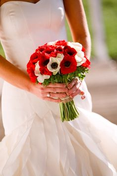red and white anemone bouquet