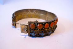 1920-1940 CHINESE EXPORT CARNELIAN & ENAMEL BANGLE BRACELET