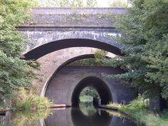 Galton railway bridge, Galton Bridge and Galton Tunnel on the Old Main Line (canals), near Smethwick, Birmingham, England Birmingham Canal, Birmingham Airport, Birmingham England, England And Scotland, England Uk, Three Bridges, Canal Boat, Narrowboat, West Midlands
