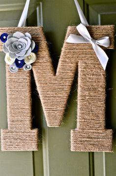 "SALE: 10% off Twine Monogram Wreaths w/ coupon code MONOGRAM10. 13"" Twine Monogram Wreath with  Handcrafted Flowers."