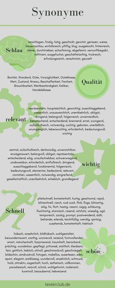 So finden Sie die richtigen Synonyme ... Marketing, German Words, Idioms, Info Graphics, Inventions