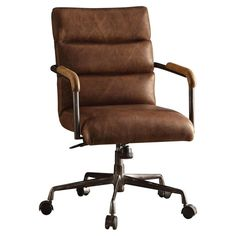 Acme Furniture 92414 Harith Top Grain Leather Office Chair in Retro Brown Executive Office Chairs, Swivel Office Chair, Home Office Desks, High Office Chair, Cabin Office, Home Depot, Brown Leather Office Chair, Leather Chairs, Industrial Office Chairs