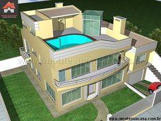 Planta de Sobrado - 4 Quartos - 185m² - Monte Sua Casa