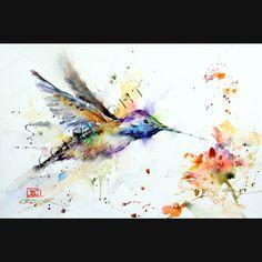 Colibri+et+fleur+Print+Aquarelle+par+Dean+par+DeanCrouserArt
