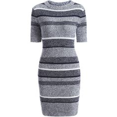 Short Sleeve Bodycon Sweater Dress ($20) ❤ liked on Polyvore featuring dresses, blue dress, sweater dresses, bodycon sweater dress, short-sleeve dresses and body conscious dress