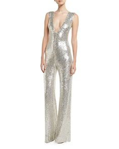 TR9CR Naeem Khan Sequined Sleeveless Jumpsuit, Silver