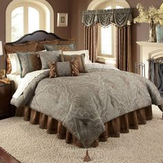 Valverde Gray, Blue and Brown Paisley Comforter Set by Veratex