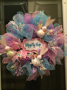 Easter wreath, Easter Bunny Wreath, deco mesh, Spring Wreath, metallic deco mesh, easter rabbit, wreath, wreaths, immediate shipping  by RoesWreaths on Etsy https://www.etsy.com/listing/226878924/easter-wreath-easter-bunny-wreath-deco