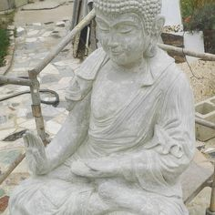 Life size Abhaya Mudrâ Buddha statue-just completed, natural concrete grey