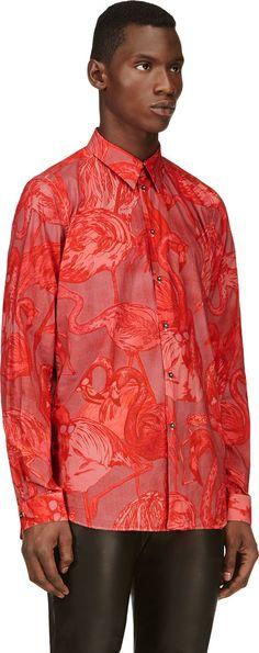 Paul Smith Hot Pink Flamingo Print Button-Up Shirt