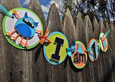 MADE TO ORDER Monster Party Highchair Small Banner - I am 1 - Customize Your Way