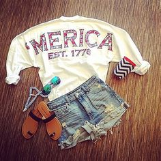 'Merica Spirit Jersey - White  Love it paired with the Jean shorts