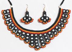 Black, Red and Yellow Macrame Necklace and Earrings with White Beads (Thread))