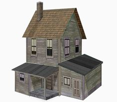 A Two Story Farm House paper model, created by Dave Miecznikowski from Clever Models website. Cardboard Box Houses, Cardboard Model, Cardboard Painting, Paper Houses, Ho Trains, Model Trains, Model Train Layouts, Paper Models, Model Building