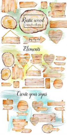 Rustic wood watercolor frames - Part of The Neverending Bundle of Superior Quality Designs