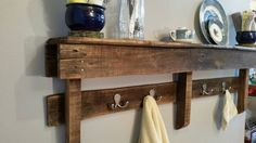 Pallet Wood Shelf with Hooks Rustic Shelf with by Randyswooddesign
