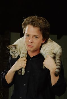 Michael J. Fox and his cat