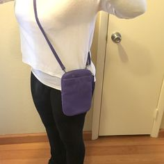 """Coldwater Creek purple Crossbody bag Coldwater Creek purple Crossbody bag. Leather material. Brand new without tags. Zip closure. Two external pockets. Internal organizational pockets. Size 5.5""""x9"""". Adjustable strap Coldwater Creek Bags Crossbody Bags"""