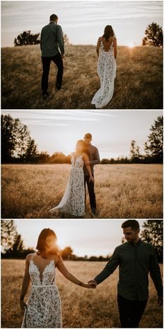 Golden Hour engagement photos in a bridal style long white dress. Shot in the tall grasses at Blackie Spit Park, BC.