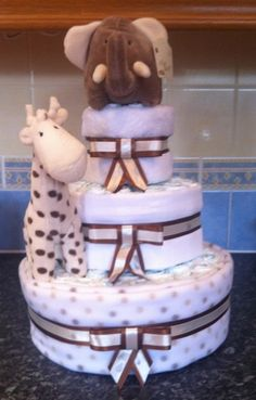 Elli 'n' Raff 3 tier neutral nappy cake by Bun In The Oven Nappy Cakes