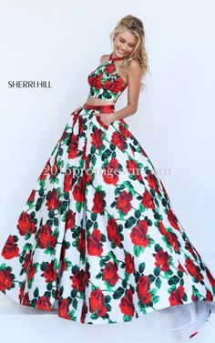 2016 Sherri Hill 50115 Two Piece Floral Printed Halter Prom Dress