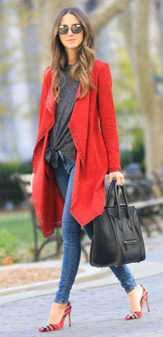 Red Trench + Black Leather Tote Bag
