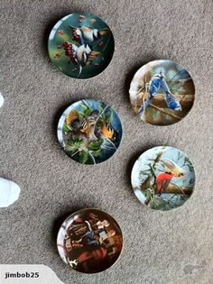 """4x Collector plates manufactured by Edwin M Knowles. Limited edition prints of Encyclopaedia Britannica """"Birds of Your Garden Collection"""".  Includes Chickadee, Oriole, Blue Jay and Cardinal.  All issued by the Bradford Exchange"""