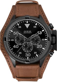 GUESS Men's Chronograph Honey Brown Leather Strap Cuff Strap Watch 48mm U0480G2