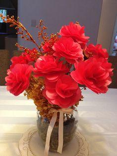Bouquet vermelho. Flores de papel