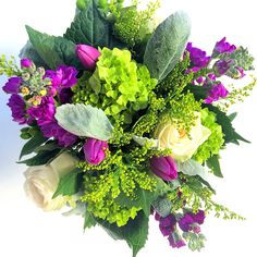Roses, Purple Tulips, Green Hydrangea and Dusty Miller Bouquet