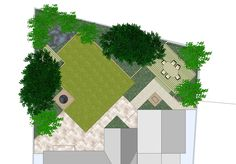 Great Use Of Diagonals And Cutaways In Small Garden With Rhomboid Lawn. Garden  Design SoftwareLandscape ...