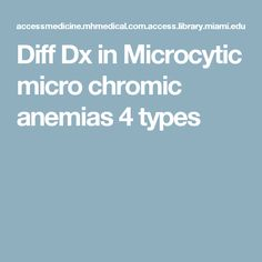 Diff Dx in Microcytic micro chromic anemias 4 types