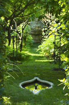Secret Wisteria Walk with Stone Reflecting Pool and ornate Renaissance Stone Fountain, Chateau Plaisir, France - designer Pascal Cribier, © Clive Nichols Photography, and available for printing onto our blinds