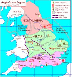 Map of Anglo-Saxon England about AD Northumbria, Mercia, Wessex. The unified Kingdom of England came into existence in AD Uk History, European History, British History, Family History, Map Of Britain, Roman Britain, Anglo Saxon Kingdoms, Anglo Saxon History, England Map