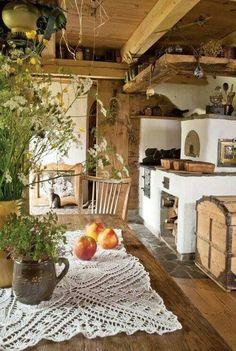 Fußboden und Boden um Ofen