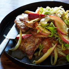 Boneless, thin-cut pork chops can be fully cooked in three minutes, a fraction of the time it takes to cook thicker chops. Here, F&W's Melissa Rub... Barbacoa, Lchf, Banting, Sage Recipes, Apple Pork Chops, Braised Lamb, Pork Ham, Dinners To Make, Sunday Dinners