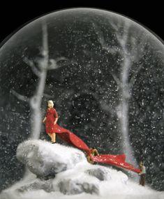 """Artists Walter Martin and Paloma Muñoz create exquisite and often nightmarish handmade snow globes. Shown here: """"Traveler 225"""""""