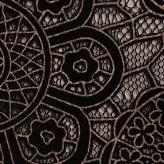 Polyester Cotton Black and Gold Lace Print