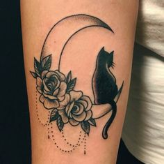 "31 Likes, 1 Comments - glorytattoo (@lagloria_tattoo) on Instagram: ""Black cat #blackcat #cat #cattattoo #tattoocat #ideatattoo #decorative #moon #moontattoo #tattoo…"""