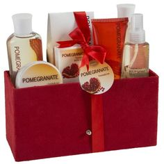 Pomegranate Bath Spa Gift Set in Red Velvet Rich Box Freida Joe,This red velvet box creates a sense of love and care, The pomegranate soft smell and the exotic designs makes it the perfect gift. For the most soothing luxurious bath experience. Indulge with our moisturizing and comforting bath products. Delight your sense with our pleasant fragrant Pomegranate gift set. It will make your day and night rosier, and give you the natural beauty and radiance you desire.
