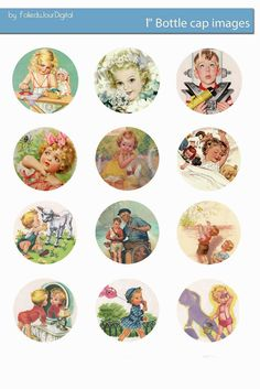 Free Bottle Cap Images: Retro children free bottle cap images template