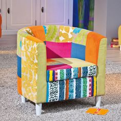 Benton Tub Chair In Multicolour Patchwork With Wooden Legs