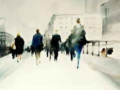 """""""the city"""" watercolor by Carlos Oliva"""