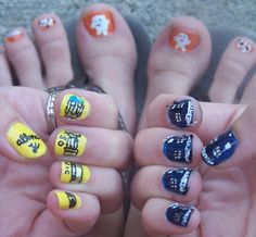 across the nails sonic screwdriver, tardis and adipose nails!!!!!!!!!!!!!!!!!!! DOCTOR WHO!