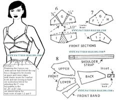 oldestyles: Good two-section and four-section Bullet Bra patterns with instructions are available online from the PatternMaking website. Patterns always make it look easier than it is. (via the-bullet-bra-is-back) Underwear Pattern, Lingerie Patterns, Bra Pattern, Clothing Patterns, Pattern Design, Sewing Bras, Sewing Lingerie, Sewing Clothes, Bh Tops
