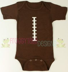 FOOTBALL Chocolate Boys Bodysuit Onesie Layette Outfit For Little Baby Boys- Adorable Baby Shower Gift. $14.95, via Etsy.